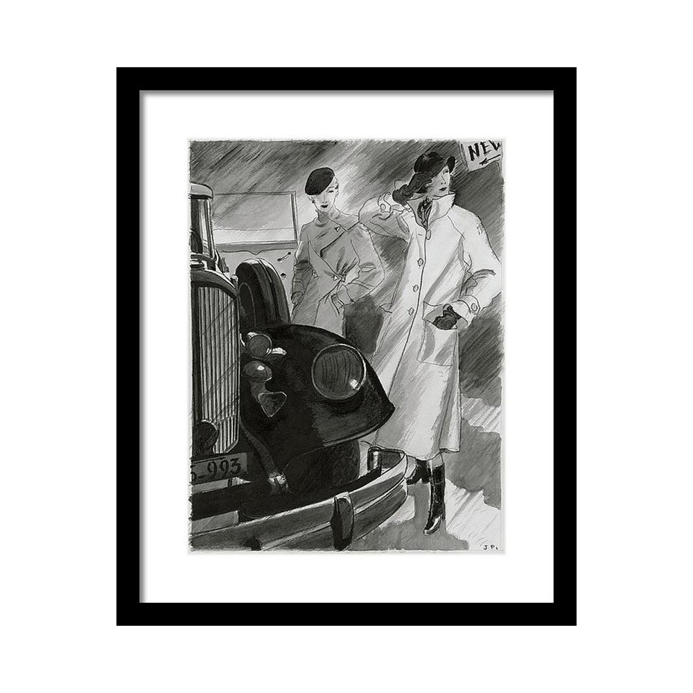 Women by a Car Постер фото