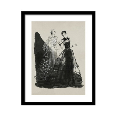 Illustration of Two Women Wearing Evening Gowns Постер