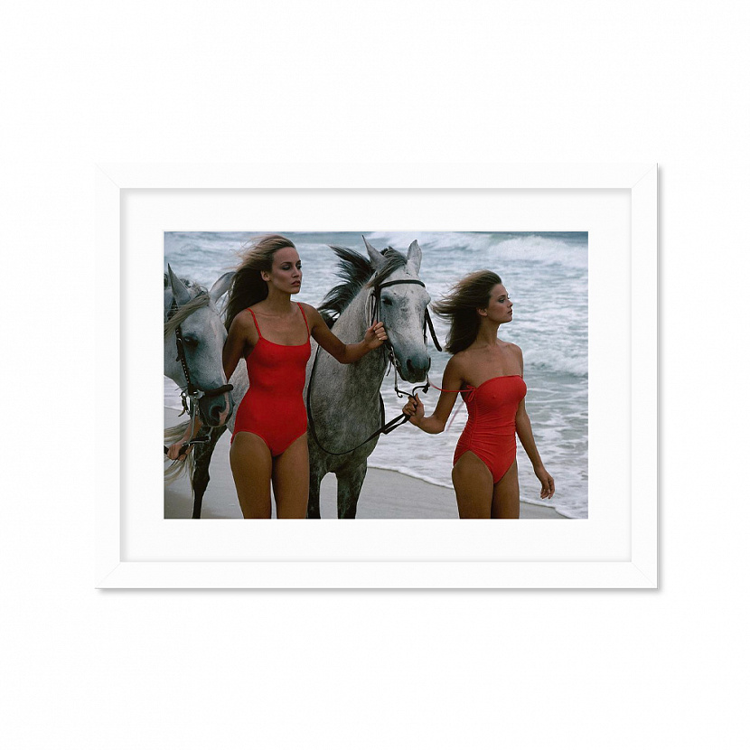Models With Horses On A Beach Постер