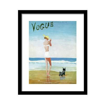 Vogue Magazine Cover Featuring a Woman on a Beach Постер